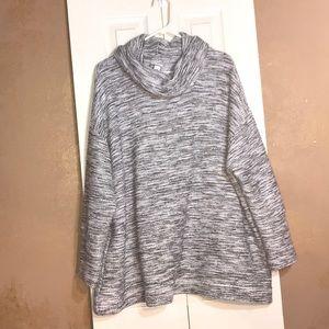 Plus size cowl neck grey sweater